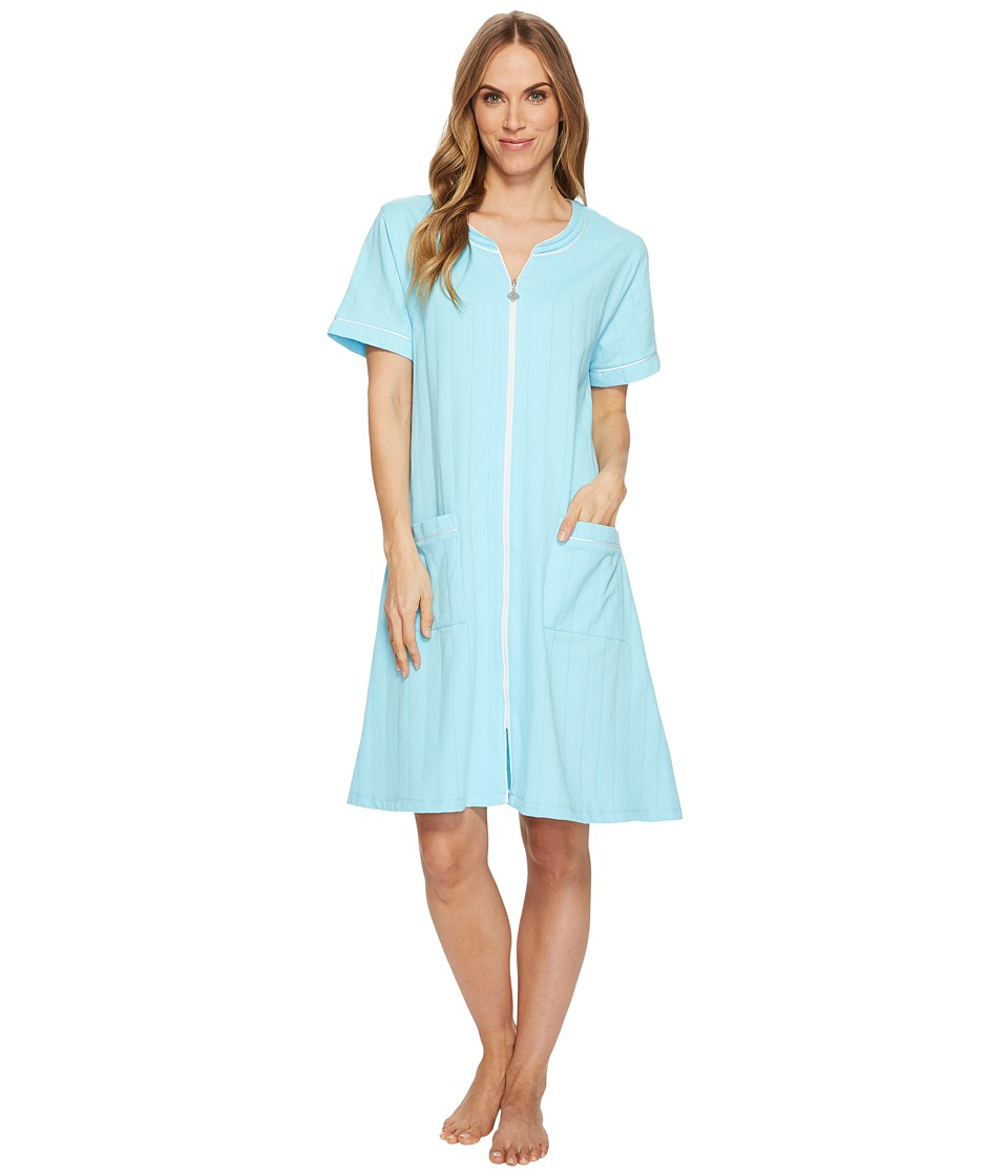 Eileen West French Terry Short Zip Robe (Solid Seaglass) ...
