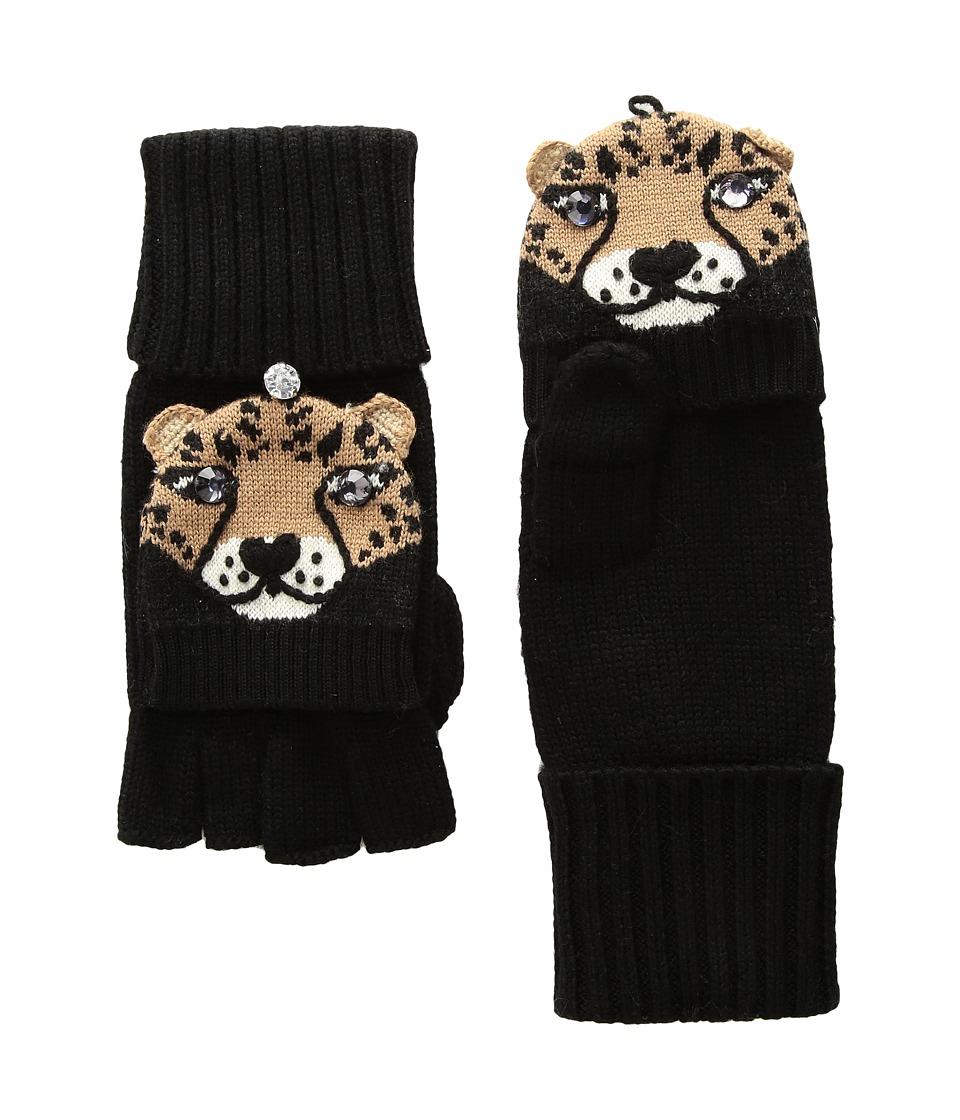 Kate Spade New York Chiquita Pop Top Mitten (Black) Dress Gloves