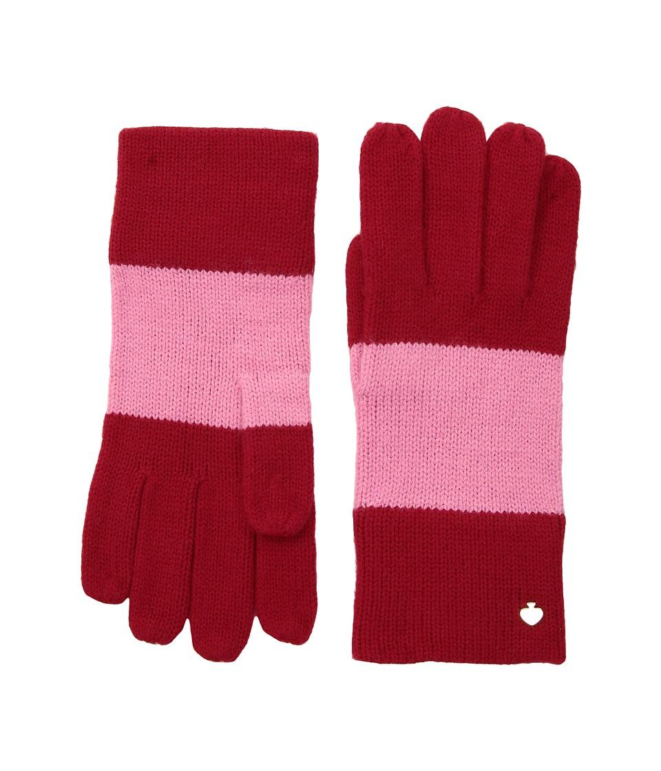 Kate Spade New York Color Block Gloves (Fleur De Lis/Charm Red) Dress Gloves