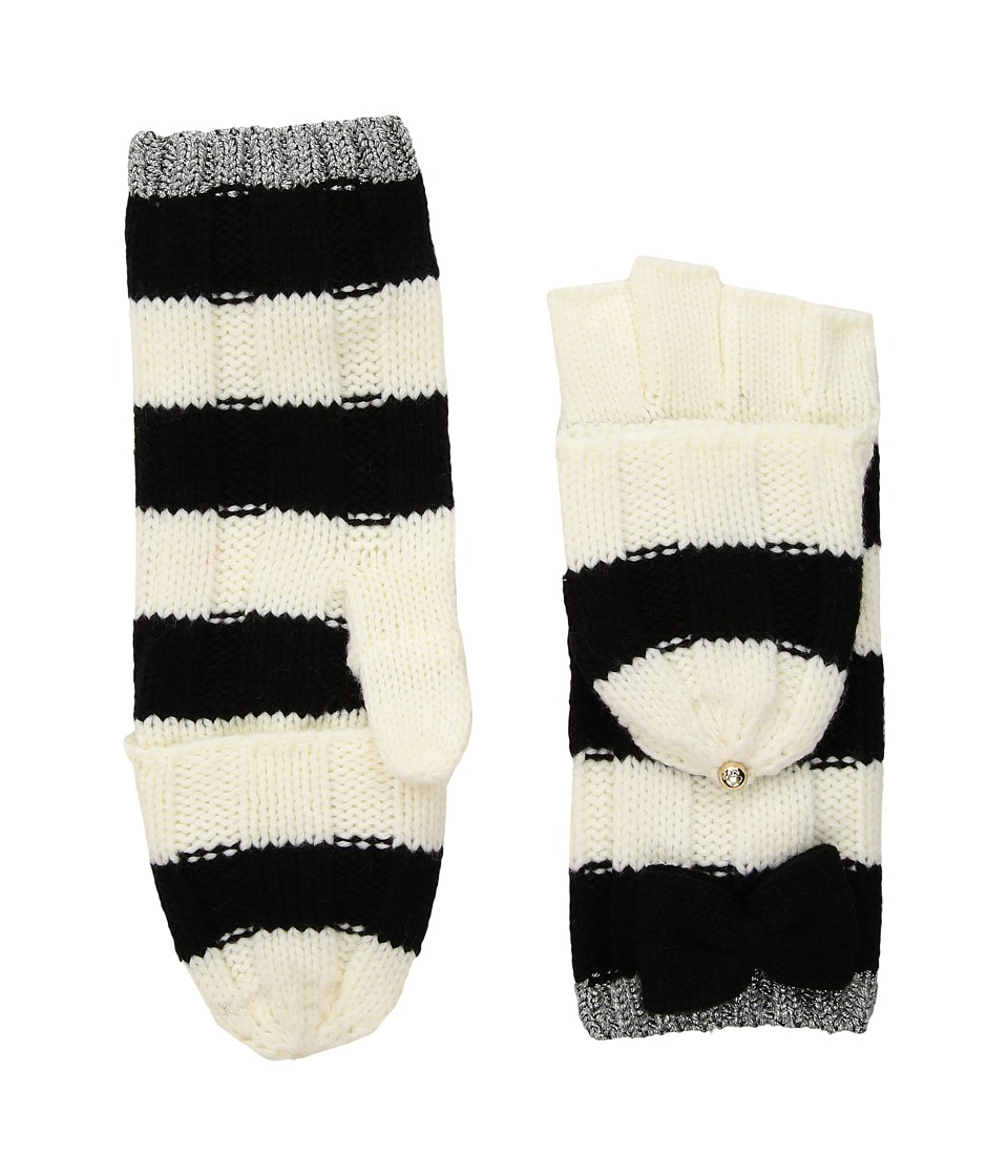 Kate Spade New York Bold Stripe with Metallic Tipping Pop Top (Cream/Black/Antique Silver) Dress Gloves