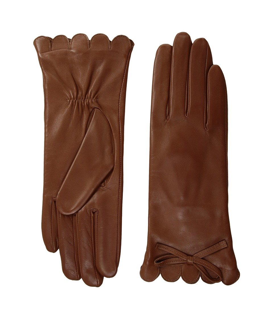 Kate Spade New York Scallop Leather Gloves (Tan) Dress Gloves