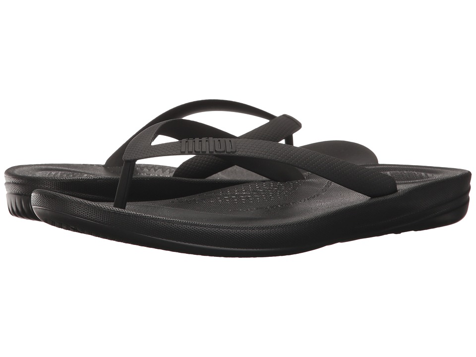 FitFlop - Iqushion Ergonomic Flip-Flops (Black) Mens Sandals