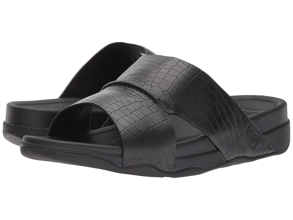 FitFlop - Bando Leather Croc Slide (Black) Mens Sandals