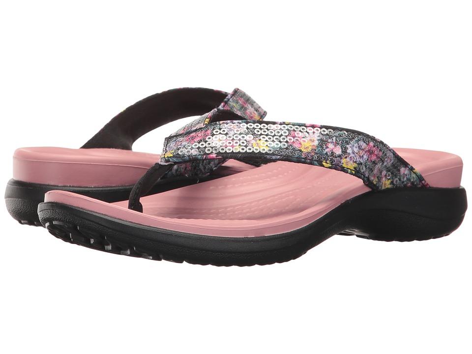 Crocs Capri V Graphic Sequin Flip (Cashmere Rose) Women's...