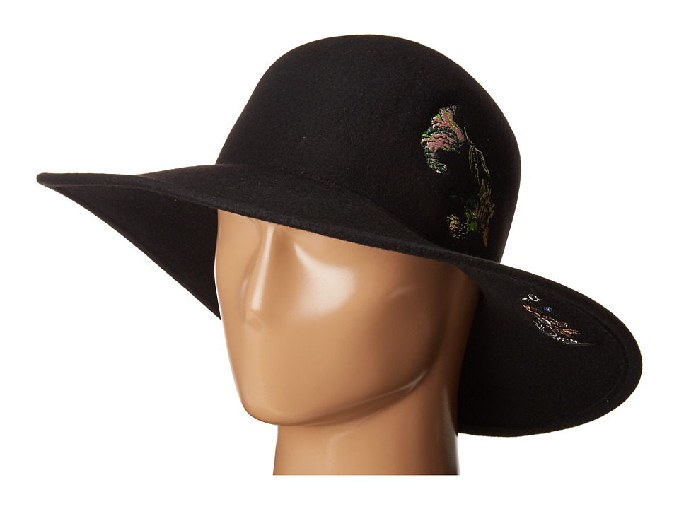 rag & bone - Embroidered Hat (Black) Traditional Hats