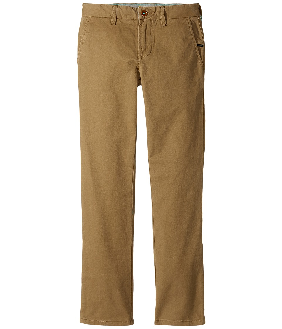 VISSLA Kids - High Tider Pants Slim Fit Stretch Twill 28 (Big Kids) (Kangaroo) Boys Casual Pants