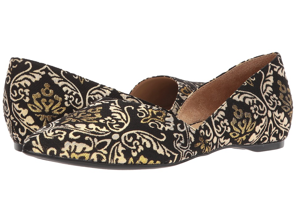 Naturalizer Samantha (Black/Gold Brocade) Flats