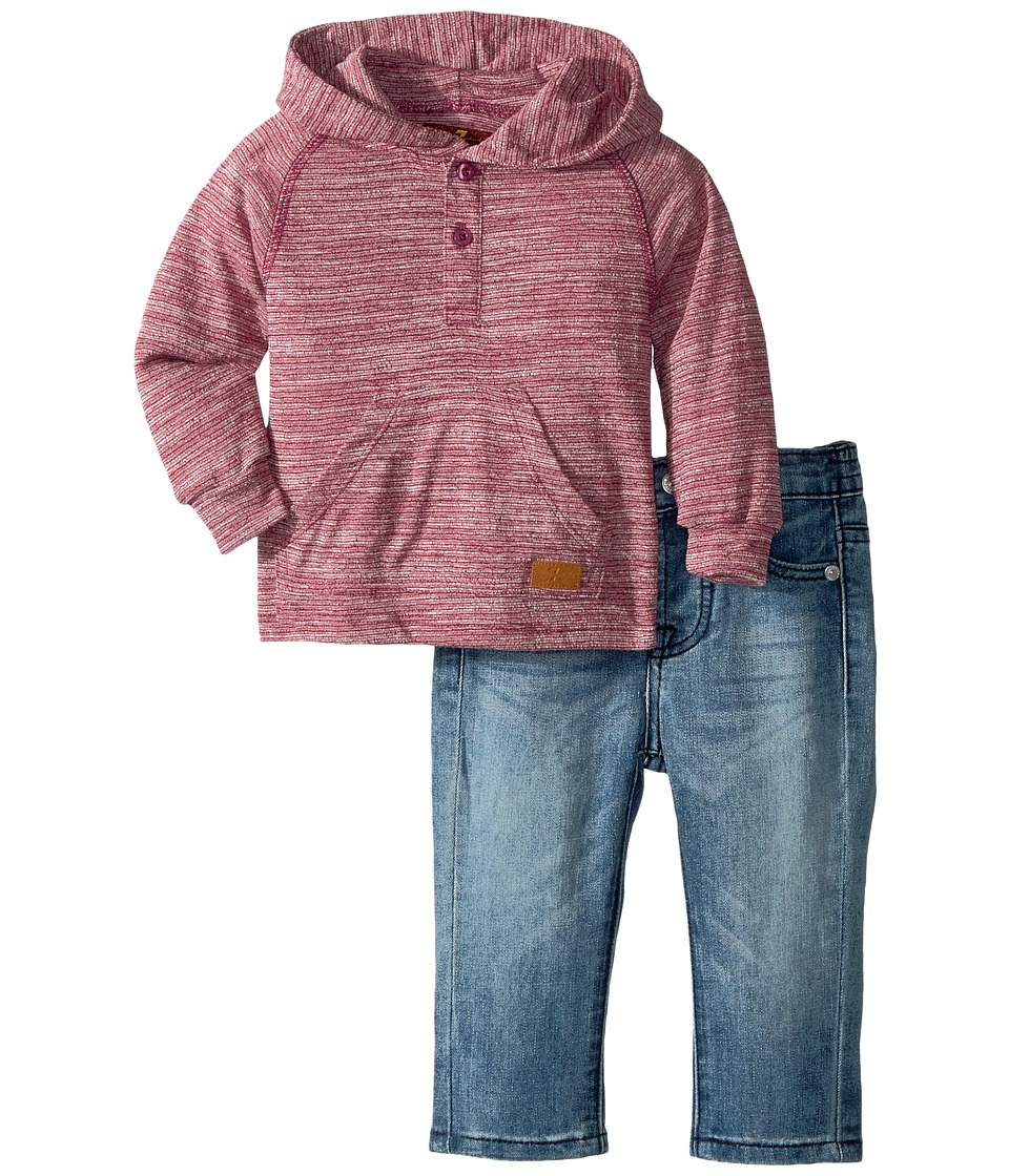 7 For All Mankind Kids Two-Piece Hooded Henley and Jeans Set (Infant) (Garnet) Boy