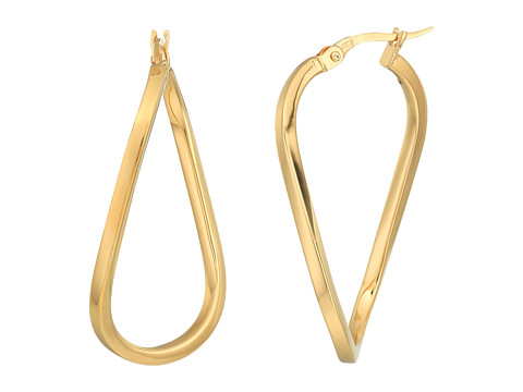 Roberto Coin Twist Hoop Square Tube Earrings - 18K Yellow Gold