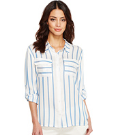Ivanka Trump - Cotton Blend Stripe Long Sleeve Boyfriend Shirt