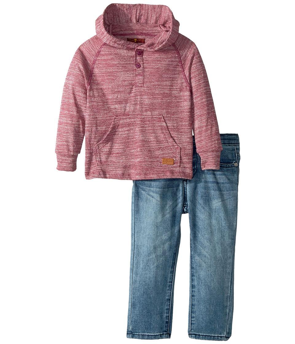 7 For All Mankind Kids Two-Piece Hooded Henley and Jeans Set (Toddler) (Garnet) Boy
