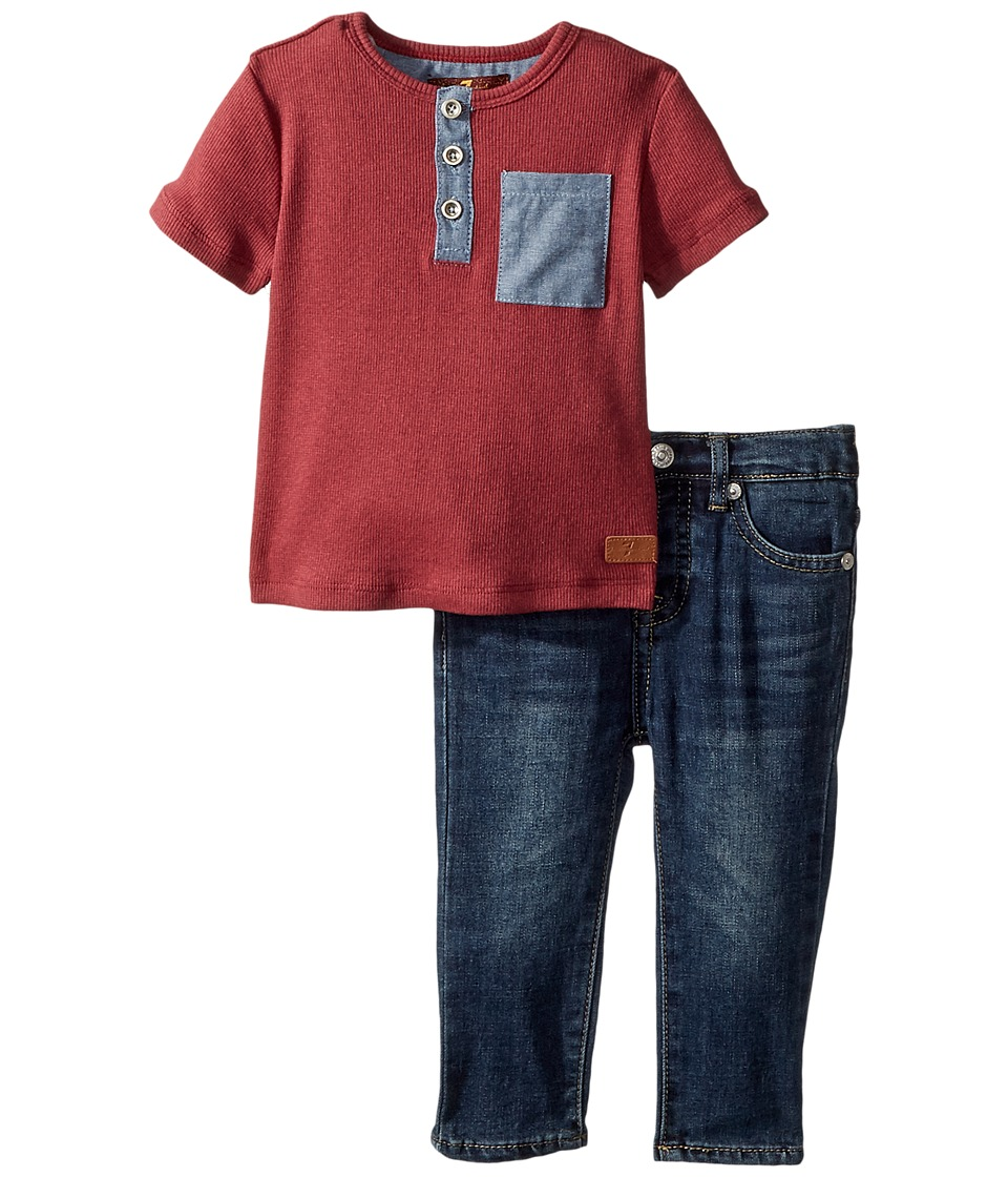 7 For All Mankind Kids Two-Piece Pocket Tee and Jeans Set (Infant) (Heather Garnet) Boy