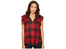 TWO by Vince Camuto Cap Sleeve Stateside Plaid V-Neck Blouse