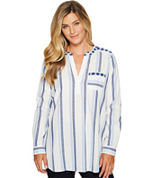 TWO by Vince Camuto - Sophomore Stripe Embroidered Henley Tunic