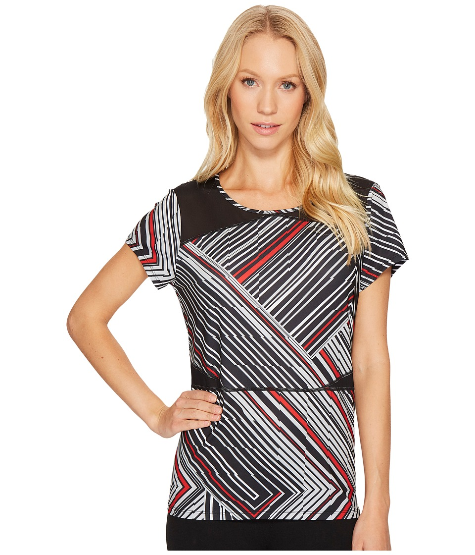 Ivanka Trump Knit Printed Crew Neck Active Tee (Black Multi) Women