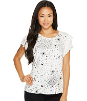 Ivanka Trump - Printed Cotton/Modal Tee Ruffle Chiffon Sleeves