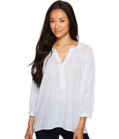TWO by Vince Camuto - Cotton Tencel Drizzle Stripe Ruched Henley