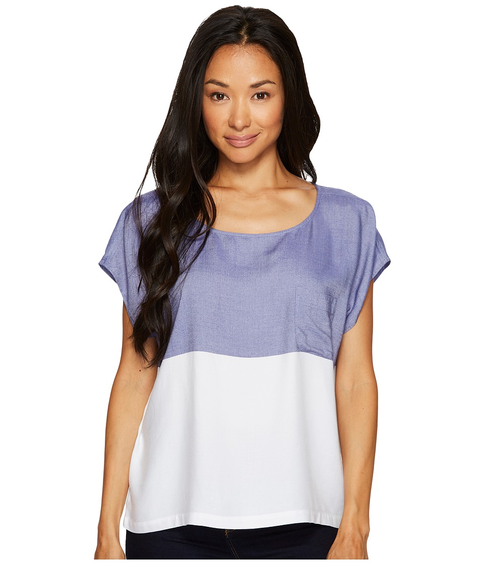 TWO by Vince Camuto Short Sleeve Engineered Block Stripe Boxy Shirt (Blue Stone) Women