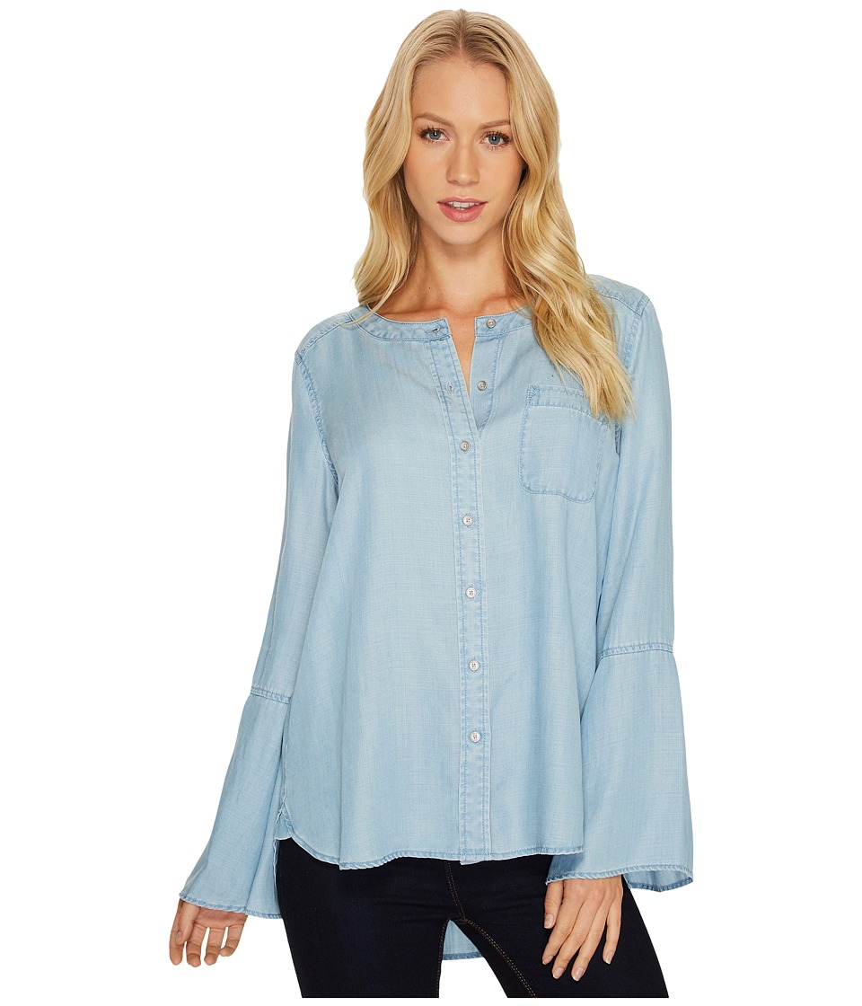 TWO by Vince Camuto Bell Sleeve Indigo Tencel Collarless Shirt (Vintage) Women