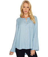 TWO by Vince Camuto - Bell Sleeve Indigo Tencel Collarless Shirt