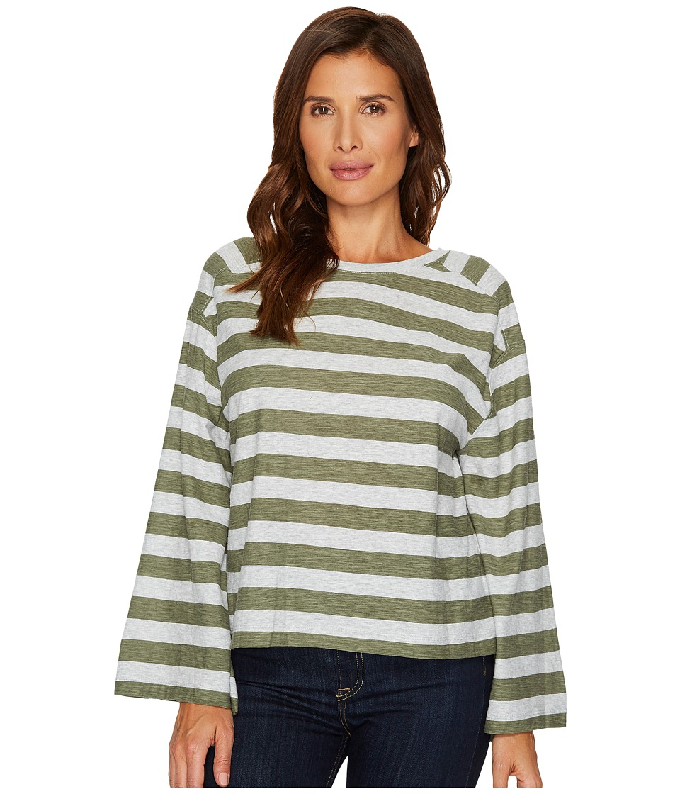 TWO by Vince Camuto Wide Long Sleeve Lydia Stripe Tee (Sage) Women
