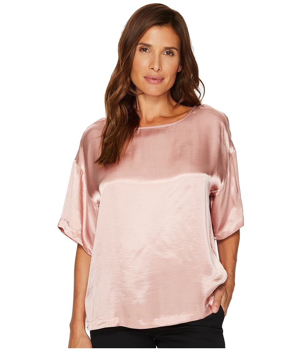 TWO by Vince Camuto Casual Satin Relaxed Tee (Iced Rose) Women