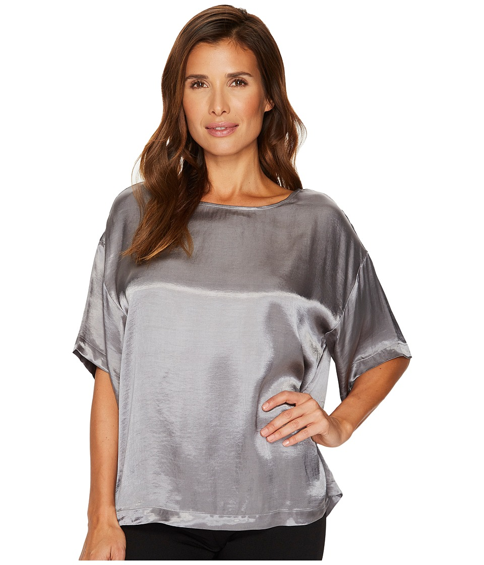 TWO by Vince Camuto Casual Satin Relaxed Tee (Iron Grey) Women