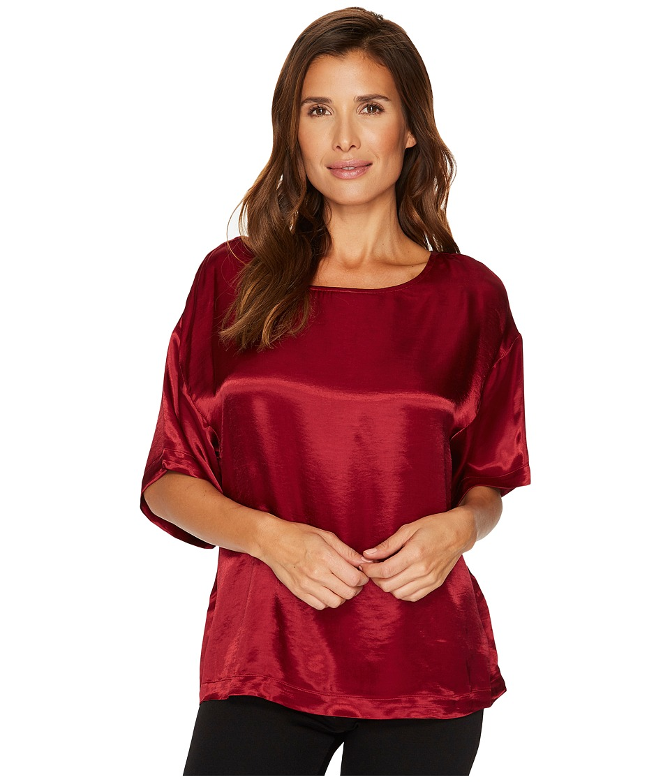 TWO by Vince Camuto Casual Satin Relaxed Tee (Russet Red) Women