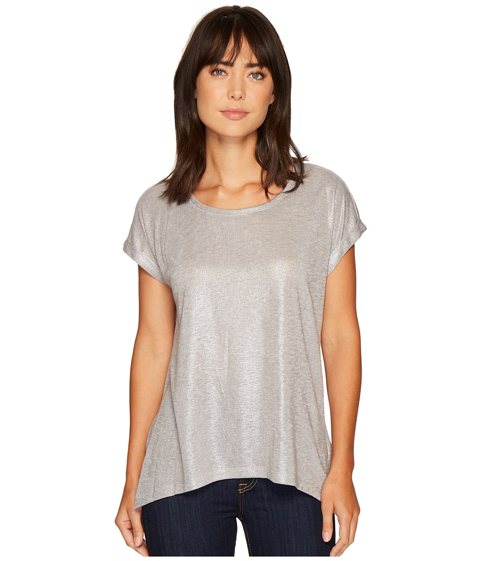 TWO by Vince Camuto Roll Sleeve Foil Print Knit Tee (Grey Heather) Women