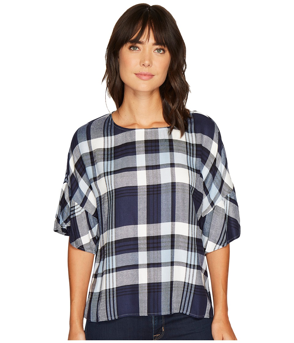 TWO by Vince Camuto Ruffled Short Sleeve Relaxed Broken Plaid Tee (Light Blue Stone) Women