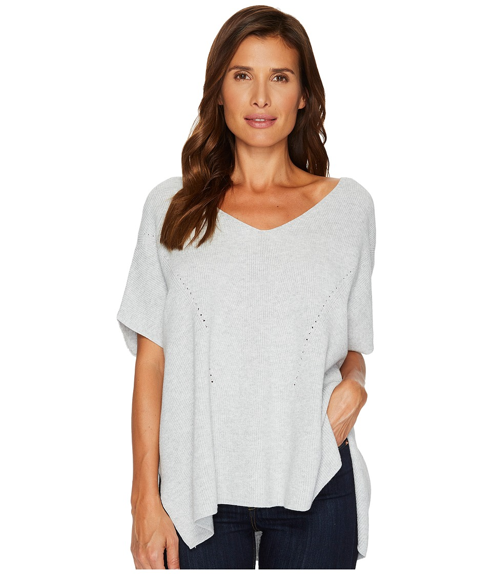 TWO by Vince Camuto Short Sleeve Plaited Traveling Stitch Boxy Pullover (Grey Heather) Women