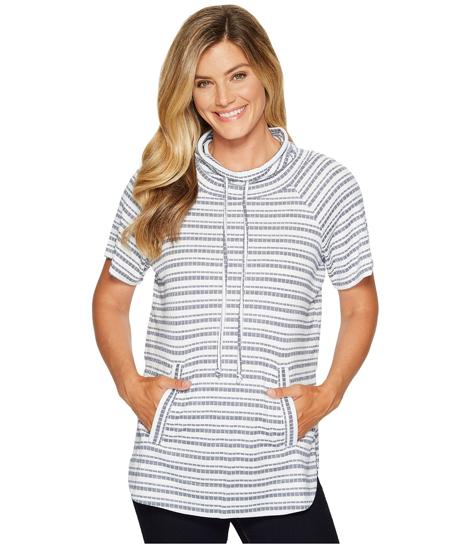 TWO by Vince Camuto - Short Sleeve Variegated Stripe Rib Funnel Neck Pullover