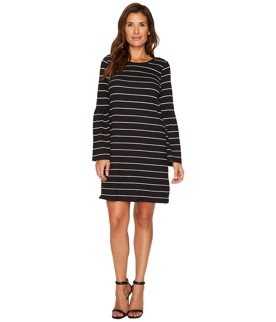 TWO by Vince Camuto Ruched Bell Sleeve Nova Stripe Knit Dress (Rich Black) Women