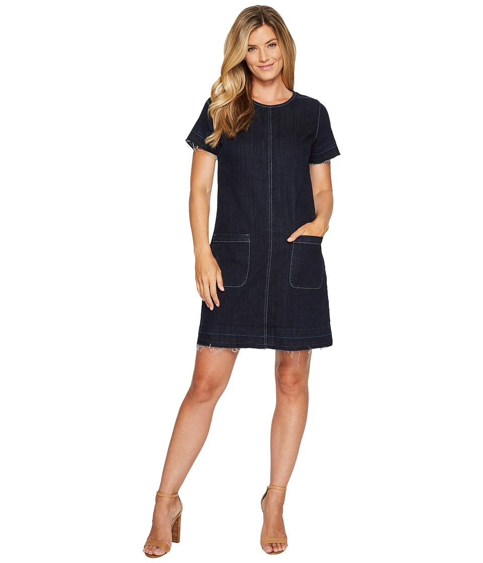 TWO by Vince Camuto Short Sleeve Indigo Denim Release Hem Shift Dress (Dark Authentic) Women