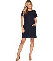 TWO by Vince Camuto - Short Sleeve Indigo Denim Release Hem Shift Dress