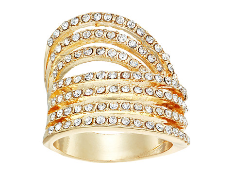GUESS Look of Six Dainty Pave Bands Ring - Gold/Crystal