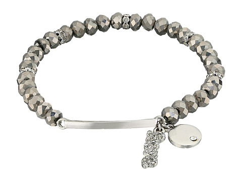 GUESS Stretch Bead Bracelet with Love Drop - Hematite/Silver