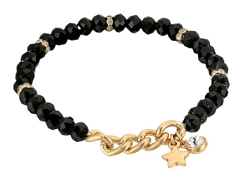 GUESS Stretch Bead Bracelet with Star Drop - Jet/Gold