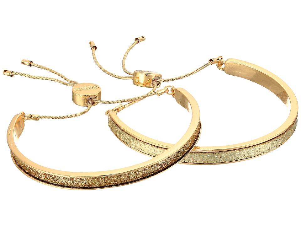 GUESS - Two-Piece Glittler Slider Bangle Set (Gold/Gold Glitter) Bracelet
