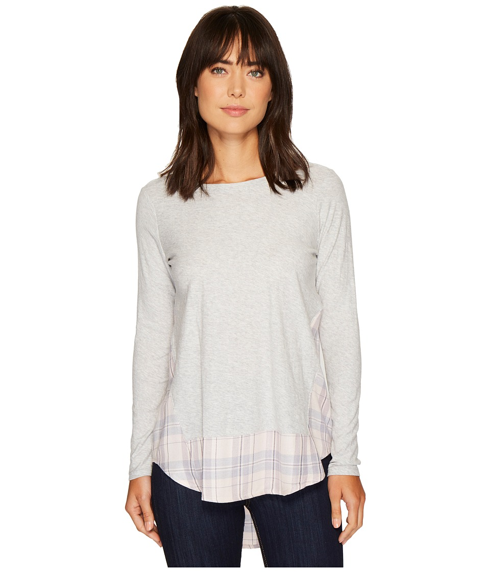 TWO by Vince Camuto - Long Sleeve Mixed Media Plaid Daydream Top