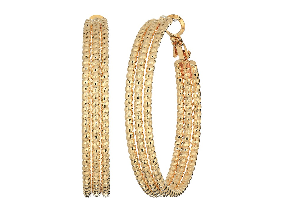 GUESS - Medium Triple Textured Wire Hoop Earrings (Rose Gold) Earring