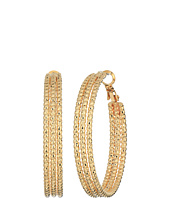 GUESS - Medium Triple Textured Wire Hoop Earrings