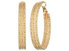 GUESS Medium Triple Textured Wire Hoop Earrings