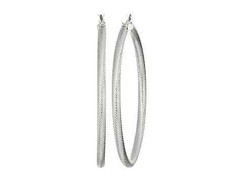 GUESS Large Textured Tube Hoop Earrings - Silver