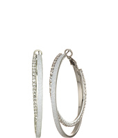 GUESS - Double Textured Clutchless Hoop Earrings