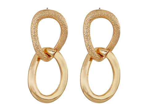 GUESS Double Link Drop Earrings - Gold