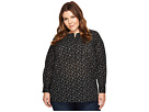 TWO by Vince Camuto Plus Size Long Sleeve Mini Bouquets Bib Henley Tunic