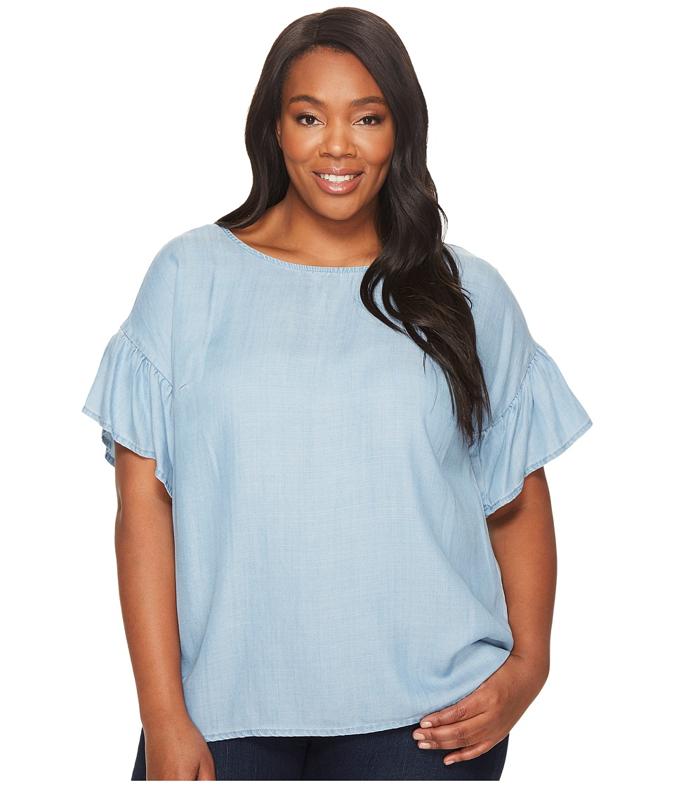 TWO by Vince Camuto Plus Size Ruffled Short Sleeve Relaxed Indigo Tencel Tee (Vintage) Women