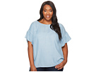 TWO by Vince Camuto Plus Size Ruffled Short Sleeve Relaxed Indigo Tencel Tee