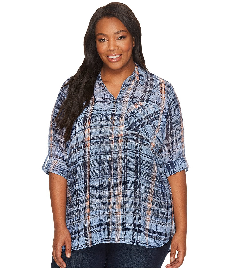 TWO by Vince Camuto Plus Size Long Sleeve Plaid Textures Georgette Two-Pocket Shirt (Navy League) Women